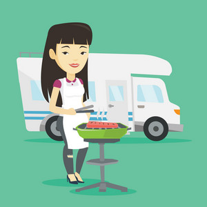 Young asian traveling woman cooking steak on barbecue grill on the background of camper van. Woman travelling by camper van and having barbecue party. Vector flat design illustration. Square layout.