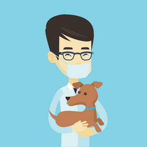 Young asian veterinarian doctor holding dog. Veterinarian doctor in medical mask carrying a dog. Veterinarian doctor examining dog. Pet care concept. Vector flat design illustration. Square layout.