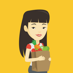 Young asian woman carrying grocery shopping bag with vegetables. Woman holding grocery shopping bag with healthy food. Woman with grocery shopping bag. Vector flat design illustration. Square layout.
