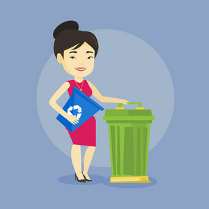 Young asian woman carrying recycling bin. Smiling woman holding recycling bin while standing near a trash can. Concept of waste recycling. Vector flat design illustration. Square layout.