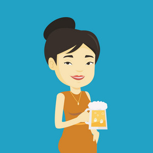 Young asian woman celebrating with beer. Smiling woman holding a big glass of beer. Full length of female beer fan. Woman drinking beer at pub. Vector flat design illustration. Square layout.