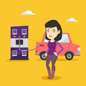 Young asian woman charging electric car at charging station. Woman standing near power supply for electric car. Charging of electric car. Vector flat design illustration. Square layout.