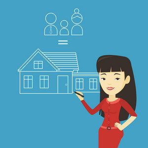 Young asian woman drawing a family house. Smiling woman drawing a house with a family. Happy woman dreaming about future life in a new family house. Vector flat design illustration. Square layout.