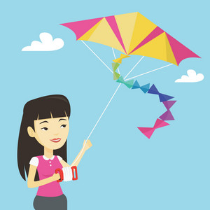 Young asian woman flying a colourful kite. Smiling woman controlling a kite. Happy woman walking with a kite. Cheerful girl playing with a kite. Vector flat design illustration. Square layout.