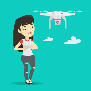 Young asian woman flying drone with remote control. Woman operating a drone with remote control. Woman controling a drone. Vector flat design illustration. Square layout.
