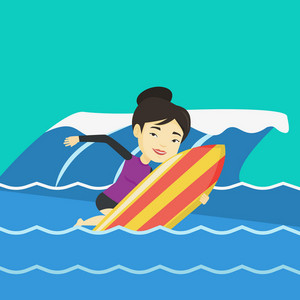 Young asian woman having fun during execution of a move on a blue ocean wave. Happy surfer in action on a surf board. Lifestyle and water sport concept. Vector flat design illustration. Square layout.