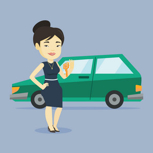 Young asian woman holding keys to her new car. Happy woman showing key to her new car. Smiling woman standing on the backgrond of her new car. Vector flat design illustration. Square layout.