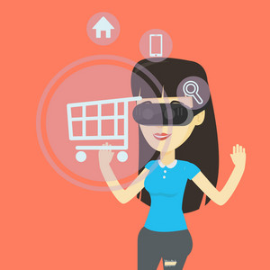 Young asian woman in virtual reality headset looking at shopping cart icon. Woman doing online shopping. Virtual reality and shopping online concept. Vector flat design illustration. Square layout