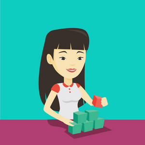 Young asian woman making pyramid of network avatars. Smiling woman building her social network. Networking and communication concept. Vector flat design illustration. Square layout.