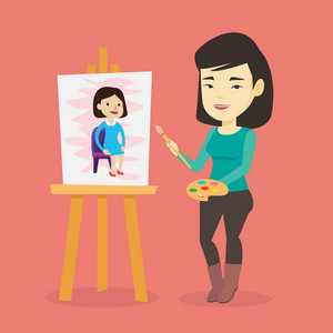 Young asian woman painting a female model on canvas. Creative smiling female artist drawing on an easel. Cheerful artist working on a painting. Vector flat design illustration. Square layout.