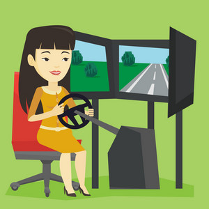 Young asian woman playing video game with gaming wheel. Happy smiling gamer driving autosimulator in game room. Woman playing car racing video game. Vector flat design illustration. Square layout.