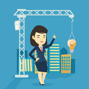 Young asian woman pointing at idea light bulb hanging on crane. Architect having excellent idea in town planning. Concept of new ideas in architecture. Vector flat design illustration. Square layout.
