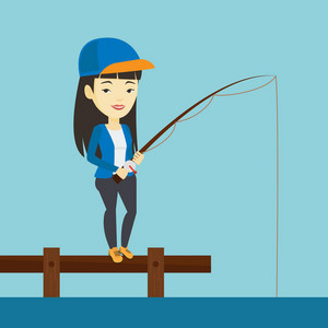 Young asian woman relaxing during fishing on jetty. Cheerful fisherwoman fishing on the lake. Smiling angler standing on jetty with fishing-rod in hands. Vector flat design illustration. Square layout