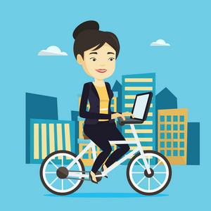 Young asian woman riding a bicycle to work in the city. Businesswoman with laptop on a bike. Businesswoman working on a laptop while riding a bicycle. Vector flat design illustration. Square layout.