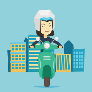 Young asian woman riding a scooter on a city background. Young woman in helmet driving a scooter in the city street. Smiling woman driving a scooter. Vector flat design illustration. Square layout