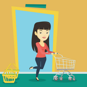 Young asian woman running into the shop. Woman rushing to shopping. Cheerful customer with an empty shopping trolley pushing supermarket trolley. Vector flat design illustration. Square layout.
