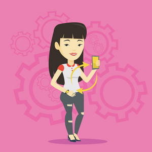 Young asian woman showing her smartphone and smart watch on the background with cogwheels. Concept of synchronization between smart watch and smartphone. Vector flat design illustration. Square layout