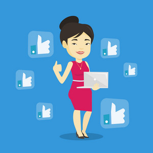Young asian woman showing thumb up and like social network buttons around her. Happy woman with laptop and like social network buttons with thumb up. Vector flat design illustration. Square layout.