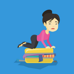 Young asian woman sitting on suitcase and trying to close it. Frustrated woman having problems with packing a lot of clothes into a single suitcase. Vector flat design illustration. Square layout.