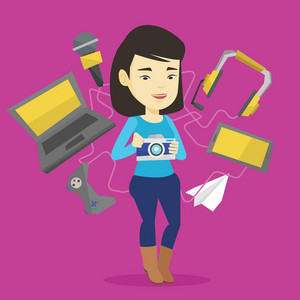 Young asian woman taking photo with digital camera. Woman surrounded with gadgets. Woman using many electronic gadgets. Girl addicted to modern gadgets. Vector flat design illustration. Square layout.