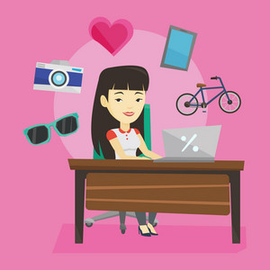 Young asian woman using laptop for online shopping. Happy woman doing online shopping. Woman buying in online shop. Girl buying on internet. Vector flat design illustration. Square layout.