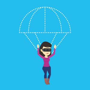 Young asian woman wearing virtual reality glasses and flying with parachute. Excited woman in vr headset having fun while flying in virtual reality. Vector flat design illustration. Square layout.