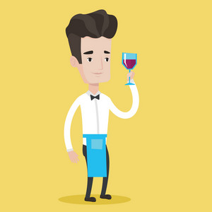 Young bartender holding a glass of wine in hand. Bartender at work. Waiter looking at glass of red wine. Smiling bartender examining wine in glass. Vector flat design illustration. Square layout.