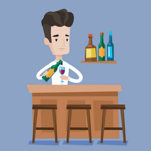 Young bartender standing at the bar counter. Bartender with a bottle and a glass in hands. Bartender at work. Barman pouring wine in a glass. Vector flat design illustration. Square layout.