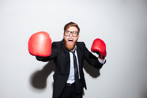 Young bearded business man in glasses and black suit in boxing gloves slap in the camera. Isolated gray background