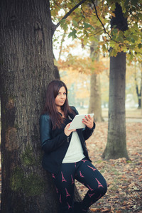 young beautiful brunette straight hair woman in the park during autumn season - using tablet technological device connecting web online wireless