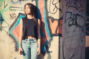 young beautiful brunette straight hair woman outdoor