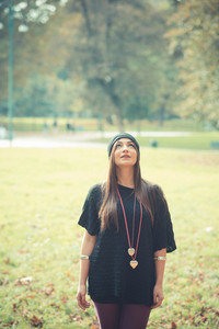 young beautiful brunette woman girl outdoor