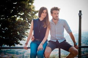young beautiful couple lovers outdoors