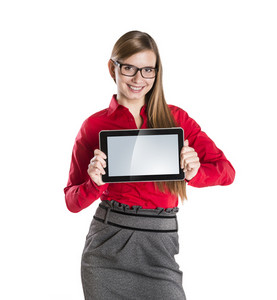 Young beautiful girl with pc tablet on white isolated background.