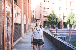 young beautiful model woman in the city