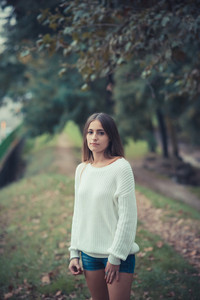 young beautiful woman girl autumn outdoor