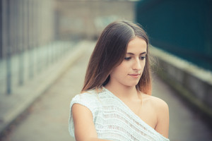 young beautiful woman girl autumn outdoor