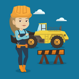Young builder standing with arms crossed. Confident builder in hard hat. Caucasian builder standing on the background of construction site or road works. Vector flat design illustration. Square layout