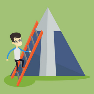 Young business man climbing the ladder. Business man climbing on mountain with arrow going up. Business man climbing upward on the top of mountain. Vector flat design illustration. Square layout.