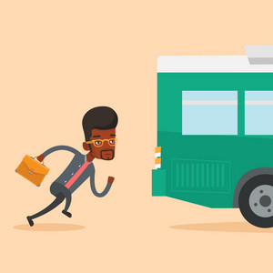 Young business man running to catch bus. Upset african-american business man running for an outgoing bus. Sad latecomer man running to reach a bus. Vector flat design illustration. Square layout.