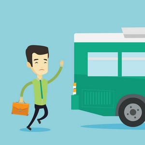 Young business man running to catch bus. Upset asian business man running for an outgoing bus. Sad latecomer business man running to reach a bus. Vector flat design illustration. Square layout.