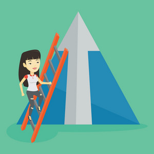 Young business woman climbing the ladder. Business woman climbing on mountain with arrow going up. Business woman climbing upward on the top of mountain. Vector flat design illustration. Square layout