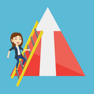 Young business woman climbing the ladder. Businesswoman climbing on mountain with arrow going up. Businesswoman climbing upward on the top of mountain. Vector flat design illustration. Square layout.