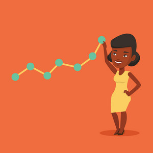 Young business woman looking at chart going up. Businesswoman lifting a business chart. An african-american businesswoman pulling up a business chart. Vector flat design illustration. Square layout.