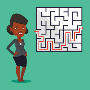 Young business woman looking at labyrinth with solution. An african-american businesswoman thinking about business solution. Business solution concept. Vector flat design illustration. Square layout.