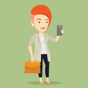 Young business woman with briefcase making selfie. Business woman taking photo with cellphone. Business woman looking at smartphone and taking selfie. Vector flat design illustration. Square layout.