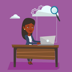 Young business woman working on laptop under cloud. An african-american business woman using cloud computing technologies. Cloud computing concept. Vector flat design illustration. Square layout.