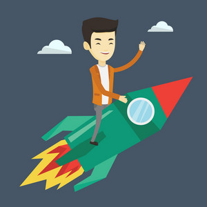 Young businessman flying on business start up rocket. Asian business man sitting on business start up rocket and waving. Business start up concept. Vector flat design illustration. Square layout.
