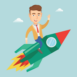 Young businessman flying on business start up rocket. Caucasian business man sitting on business start up rocket and waving. Business start up concept. Vector flat design illustration. Square layout.