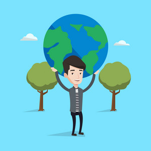 Young businessman holding a big Earth globe over his head on a blue background with trees. Concept of global business. Vector flat design illustration. Square layout.